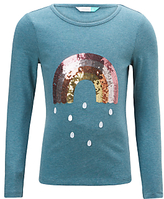 John Lewis Girls' Rainbow T-Shirt, Green