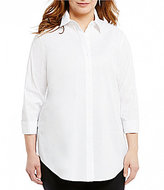 Westbound Plus Point Collar Ruched Sleeve Shirt