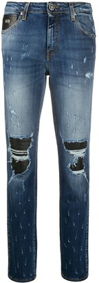 John Richmond Distressed Straight-Leg Jeans