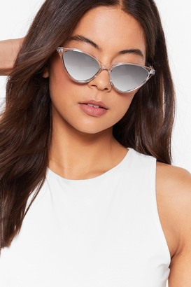 Nasty Gal Womens Tinted Cat-Eye Sunglasses with Slim Temples - Clear
