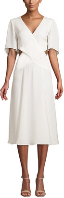 Olivia Palermo Flounce Sleeve Crossover Silk Dress