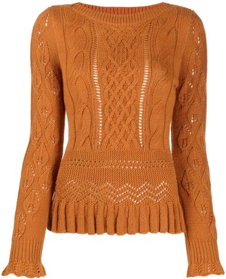 See by Chloe Multi-Knit Ruffle Trim Jumper