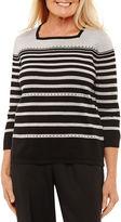 Alfred Dunner Square Neck Embellished Sweater