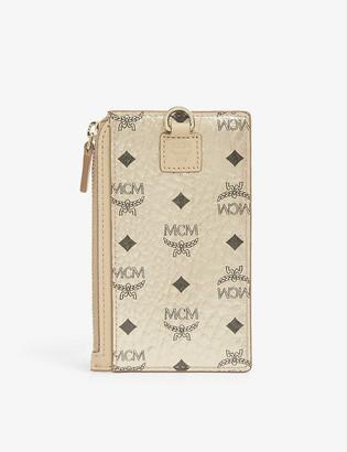 MCM Visetos coated canvas neck strap card holder