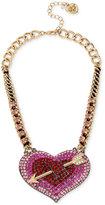 Betsey Johnson Gold-Tone Pavé Heart Arrow Statement Necklace