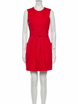 Alexander McQueen Crew Neck Mini Dress Red