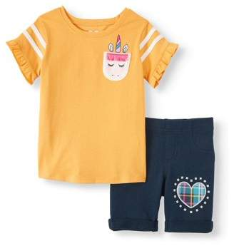 365 Kids From Garanimals Ruffle Sleeve Graphic Top and Bermuda Short, 2-Piece Outfit Set (Little Girls and Big Girls)