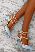 Pink Boutique Audacity Blue Patent Studded Stiletto Heels
