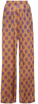 MM6 MAISON MARGIELA Printed Silk Wide-leg Pants