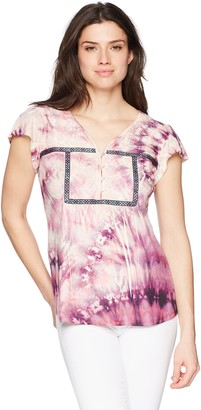 One World ONEWORLD Women's Notch Neck Peasant Top with Embroidery