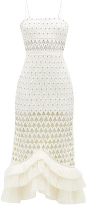 David Koma Embellished And Cutout Raffia Fringed-hem Dress - Womens - White