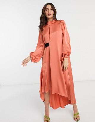 ASOS DESIGN satin high neck midi dress with blouson sleeve