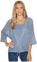 Heather Cyndi Square Mesh Wrap Top Women's Clothing
