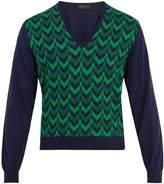 Prada V-neck chevron-intarsia wool sweater
