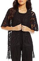 Multiples Kimono Sleeve Open Front Lace Fringed Hem Cardigan