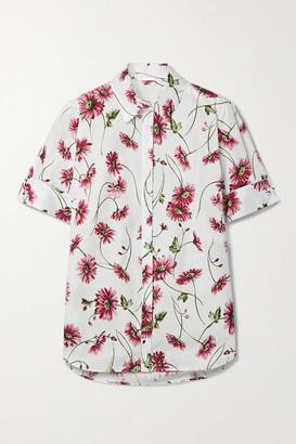 Adam Lippes Floral-print Cotton-poplin Shirt - White