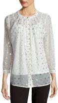 Liz Claiborne Long-Sleeve Foil-Print Button-Front Blouse