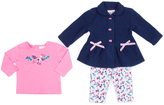 Little Lass Pink & Navy Bow Fleece Jacket Set - Infant