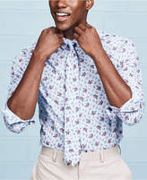 Bar III Men's Slim-Fit Stretch Easy Care Coral Blue Floral Glenplaid Dress Shirt, Created for Macy's