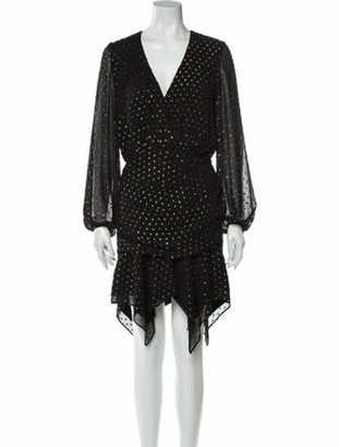 HANEY Polka Dot Print Mini Dress Black