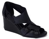 Alexander Wang Mia Black Leather Cutout Wedge Sandals