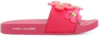 Little Marc Jacobs Rubber Slide Sandals W/ Daisy Appliques