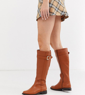 Asos DESIGN Wide Fit Constance flat knee boots in tan