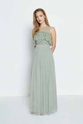Coast Sequin Tulle Frill Bodice Maxi Dress