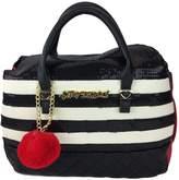 Betsey Johnson Top Handle Black Cream Stripes sequin Satchel with Red Pom Pom Handbag Purse