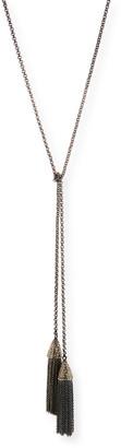 Siena Jewelry Double-Tassel Chain Lariat Necklace with Diamonds