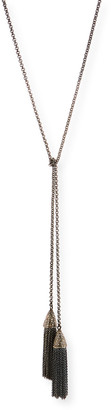 Siena Jewelry Double-Tassel Chain Lariat Necklace with Diamonds