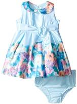 Us Angels Matte Satin Sleeveless Peter Pan w/ Photo Reel Border Dress (Infant)