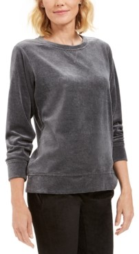 Karen Scott Petite Velour Sweatshirt, Created For Macy's