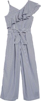 Habitual Stripe Asymmetrical Ruffle Jumpsuit