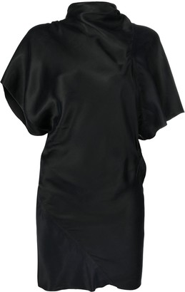 Rick Owens Asymmetric Satin-Finished Short Dress