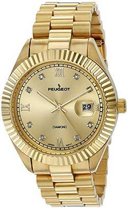 "Peugeot 14K Plated""Diamond"" Luxury Dress Watch with Fluted Bezel and Calendar"