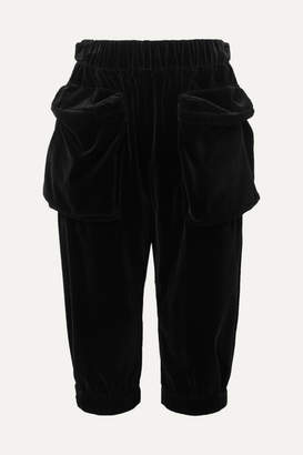 Miu Miu Cropped Cotton-velvet Track Pants - Black