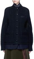 Sacai Mix knit felted wool blend layered coat