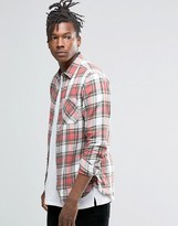 Pull&Bear Brushed Plaid Check Shirt In Red In Regular Fit