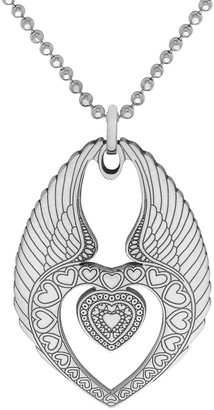 Cartergore Large Silver Winged Heart Pendant Necklace