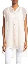 Eileen Fisher Women's Linen Blend Sheer Mandarin Collar Tunic