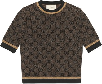 Gucci GG wool top with lurex