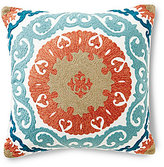 Noble Excellence Suzani Medallion-Embroidered Square Pillow