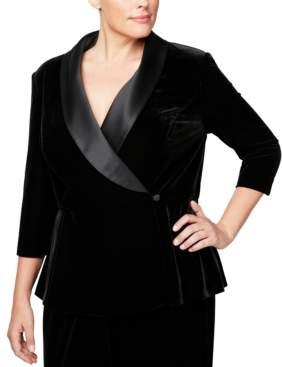 Alex Evenings Plus Size Velvet & Satin Wrap Jacket