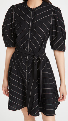 La Vie Rebecca Taylor Short Sleeve Satin Stripe Dress