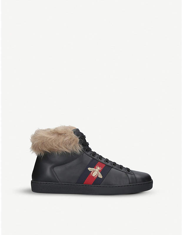 Gucci New Ace shearling-lined leather high-top trainers