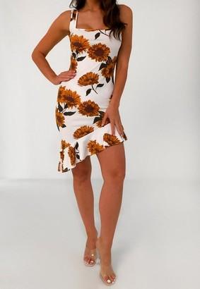 Missguided White Floral Ruffle Asymmetric Hem Midi Dress