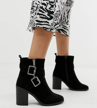 New Look Wide Fit wide fit cross strap block heeled boot in black