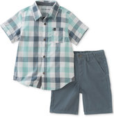 Calvin Klein 2-Pc. Plaid Cotton Shirt & Shorts Set, Baby Boys (0-24 months)