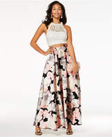 Speechless Juniors' Embellished Lace Printed 2-Pc. Gown